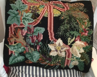 Elizabeth Bradley Winter Wreath Cushion, Victorian Flower wreath completed tapestry by Elizabeth Bradley design