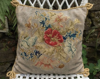 Victorian needlepoint cushion, poppy needlepoint pillow, Victorian embroidered cushion