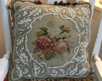 Victorian needlepoint and beaded cushion, beaded pillow, Victorian beadwork cushion, needlepoint pillow