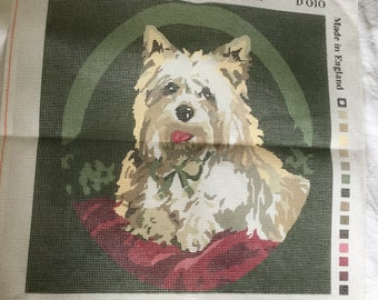 Needlepoint canvas, Victorian Tapestry canvas, West Highland White Terrier Dog, embroidery canvas
