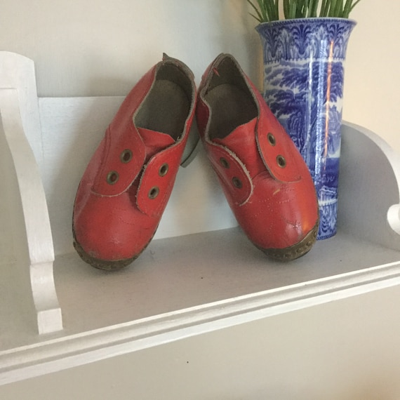Red leather childs clogs, vintage boys clogs, red