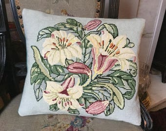 Lilies needlepoint cushion, Arts and Crafts design pillow, white lilies wool cushion