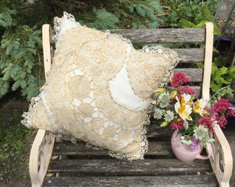 Cream and ecru lace cushion, cream and lace boudoir pillow