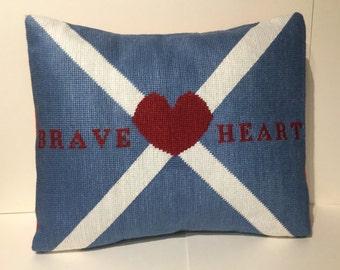 Scottish Braveheart needlepoint cushion pillow hand-made designer heart flag