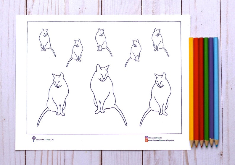 Coloring Activity Printable Coloring Placemat Kid/'s Party Activity Printable Activity Placemat For Kid or Adult Cat Coloring Picture