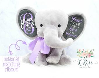 Baptism Gift, Christening Gift, Elephant Keepsake, Stuffed Elephant, Godparent Gift, Gift From Godparents, Personalized Elephant, Godchild