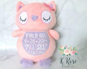 Birth Stat Owl, Birth Stat Animal, Personalized Owl, New Baby Gift, Birth Announcement, Owl Nursery, Baby Shower Gift, Baby Keepsake Gift
