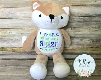 Birth Stats Stuffed Animal, Birth Stats Fox, Personalized Fox, Personalized Plush, Birth Announcement, Birth Stats Animal, Baby Gift