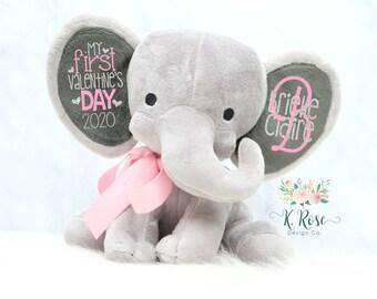 First Valentines Day Plush, Keepsake Elephant, Baby Keepsake, New Baby Gift, Personalized Elephant, Valentines Day Elephant, Valentine Plush