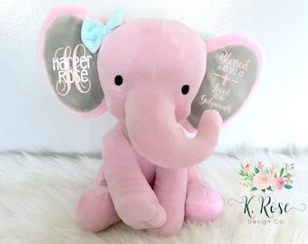 Baptism Gift, Christening Gift, Elephant Keepsake, Stuffed Elephant, Godparent Gift, Gift From Godparents, Personalized Elephant
