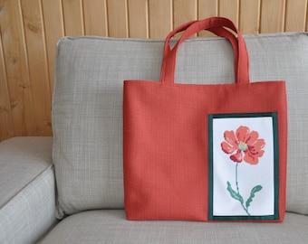 Orange Poppy Cross-Stitch Tote