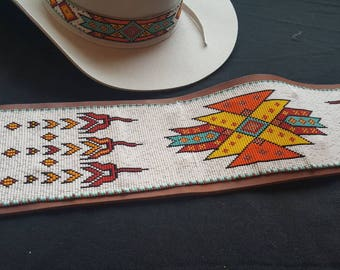Beaded Dance Belt (Powwow) and Hat Band