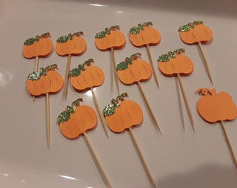12 Pumpkin Cupcake Toppers, Pumpkin Toppers, Fall Cupcake Toppers, Thanksgiving Cupcake Toppers, Halloween Cupcake Toppers
