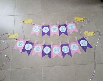 Unicorn Happy Birthday Banner, Birthday Banner, Pink and Purple Birthday Banner