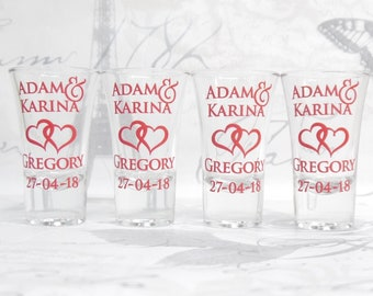 Personalised Shot Glasses - Entwined Hearts + Names + Date - Wedding Favours Wedding Party Wedding Gifts Guest Favours Wedding Shot Glasses