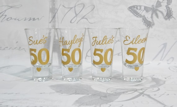 Personalised 50th Birthday Shot Glasses