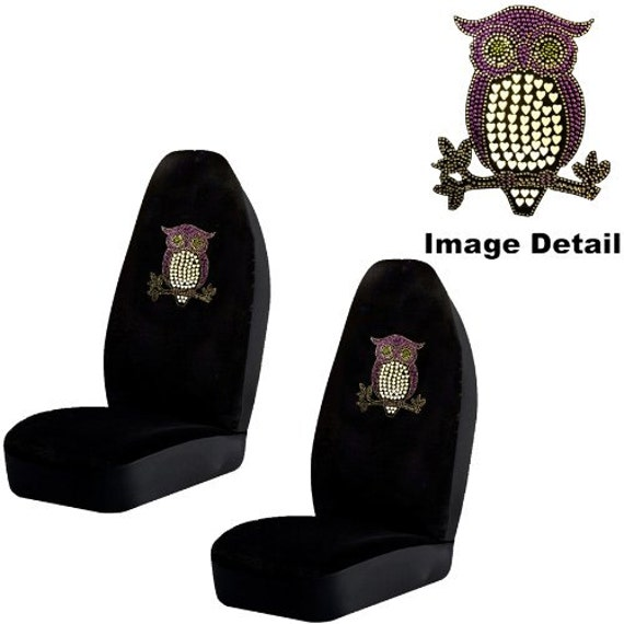 Purple Owl W Hearts Gem Crystal Studded Rhinestone Bling Car