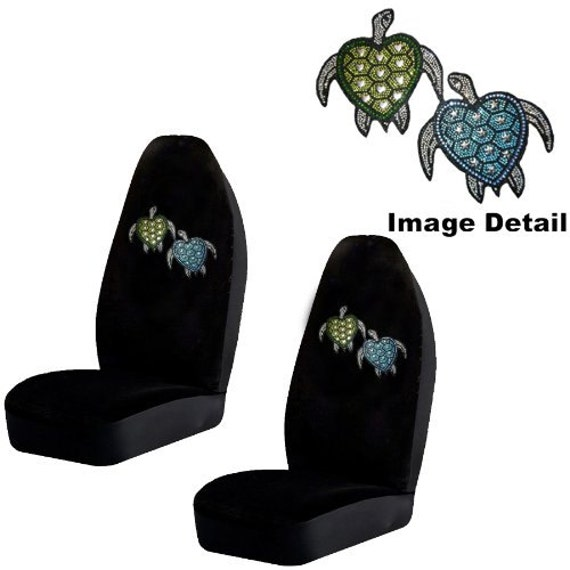 Awesome Blue And Green Turtles W Stars Hearts Gem Crystal Studded Rhinestone Bling Car Truck Suv Front Universal Fit Bucket Seat Covers Pair Uwap Interior Chair Design Uwaporg