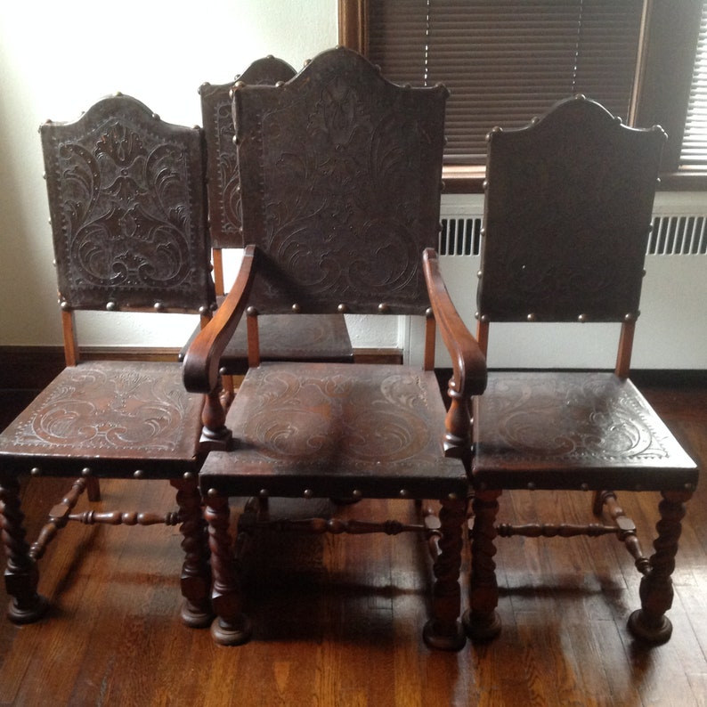 Genial Antique Spanish Revival Style Chairs/Gothic Style Chairs/embossed Leather  Chairs/throne Chairs/medieval Chairs/brown Chairs/kings Chairs