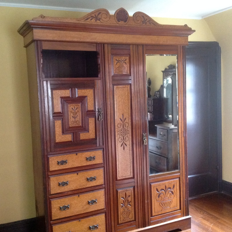 Antique Armoire/vintage Armoire/ Marquetry Furniture/antique  Wardrobe/standing Closet/English Furniture/burled Wood Armoire