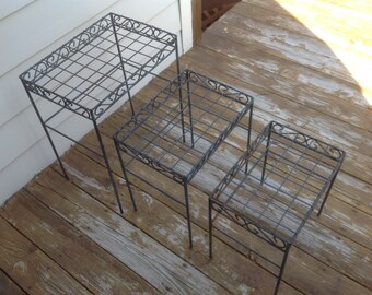 Vintage Iron Nesting Tables/Mid Century Patio Tables/Stacking Tables/Garden End Tables/Iron Side Tables