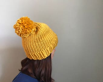 Chunky Pom Beanie Hand Knit, Pom Hat, Hand Knitted Hat - Mustard (Adult)
