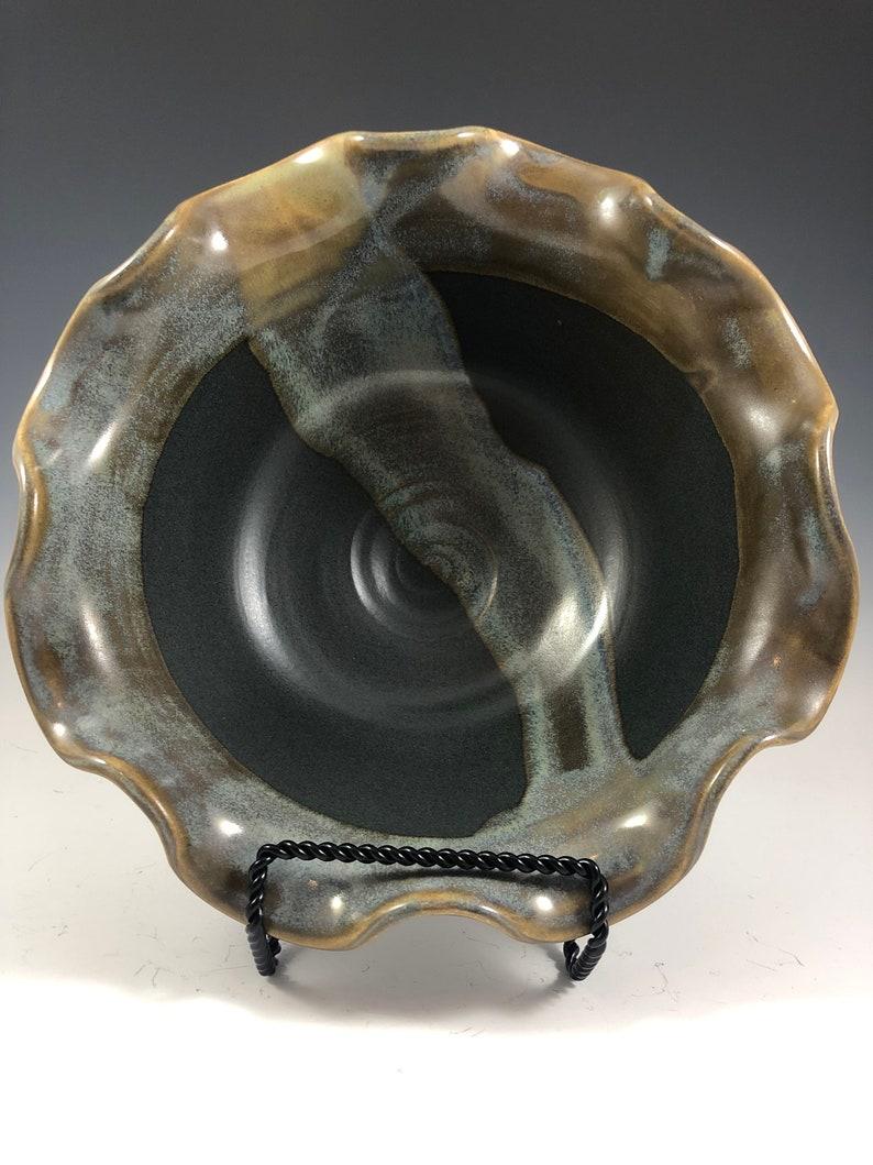 Wavy Matt Black and ButterscotchBlue bowl