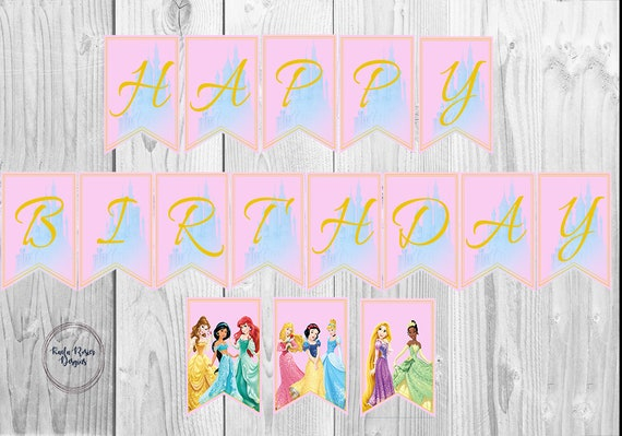 Princess Birthday Banner Princess Banner Disney Princess Banner Printable Birthday Banner Birthday Party Banner