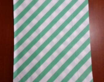 """10 Medium Size Teal and White Diagonal striped Candy bags, 5 1/8"""" x 6 3/8"""""""