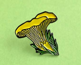 Chanterelle mushroom enamel pin yellow and green