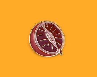Blood orange fruit enamel pin - lapel pin - badge - feminist fruit - period pin - bleeding orange - feminist pin