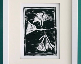 "Ginkgo linocut art print - ginkgo tree leaves -  original block print - spring/summer botanical plant art - 5""x7"""