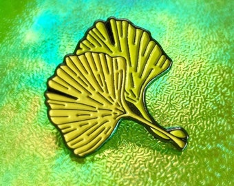 Ginkgo enamel pin - lapel pin - badge - yellow, green, chartreuse