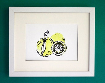 "Yuzu lemon linocut art print - original block print - yellow citrus fruit art - kitchen decor - 5""x7"""
