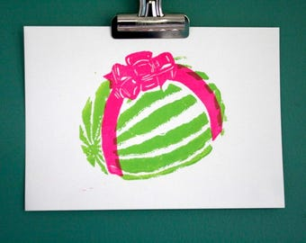 "Watermelon bow linocut print - original block print - green and pink fruit art print - 5""x7"""