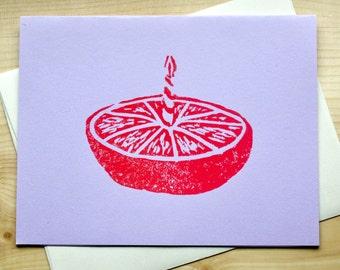 Hand Printed Orange Birthday Cake Card - Linocut Orange - Block Print - Birthday Card - Orange Cake - Fruit Cake - Purple - Yellow