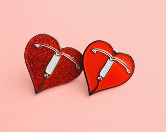 I Heart IUD Enamel Pin - Lapel Pin - Badge - Birth Control - Reproductive Health - Intrauterine Device - Feminist Pin - IUD love