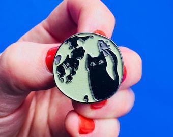 Black Cat Enamel Pin - Full Moon Enamel Pin - Glow-in-the-Dark - Badge - Lapel Pin - lunar pin