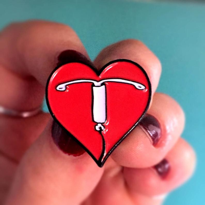 I Heart IUD Enamel Pin  Lapel Pin  Badge  Birth Control  Red