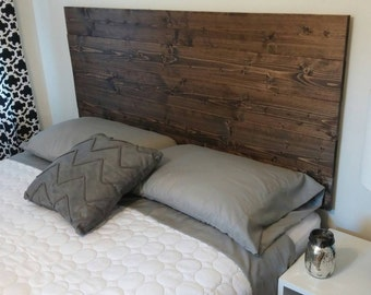 Dark Walnut Rustic Wood Headboard - Twin-King - Choose from 6 stains - Includes step by step directions for easy assembly - No legs needed