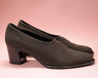1f11059921 vtg 90s minimalist shoes / Robert Clergerie Paris, France / Elastic Driver  pump heel loafer / sz. 8 B / witchy mod goth