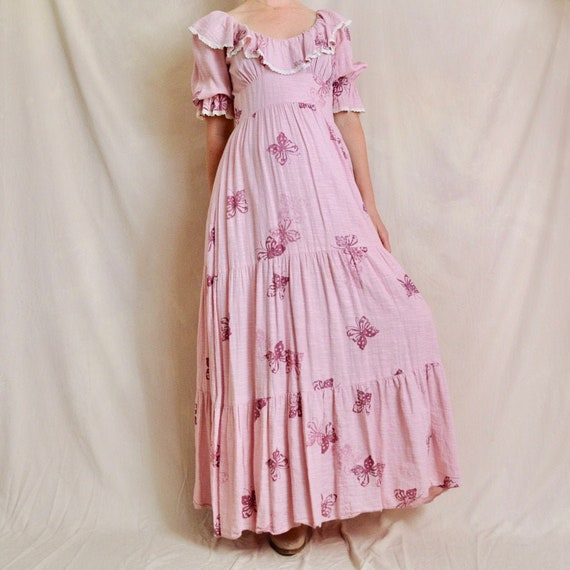 70s maxi dress, butterfly print, cotton maternity,
