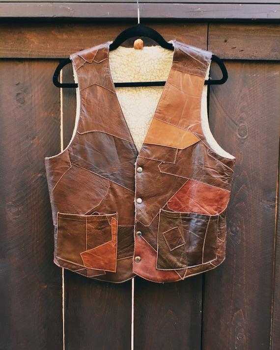 Vintage 70s Patchwork Leather Vest