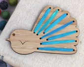 Make Your Own Embroidered Magnet - DIY Silk Ribbon Fantail - NZ Bird - Kiwiana Embroidery - Stream Colourway - Blue Piwakawaka -Stitch it