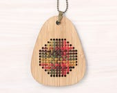 Harvest Weave / Bamboo Embroidered Necklace Kit / Modern Embroidery Kit / DIY Wearable Weaving Kit
