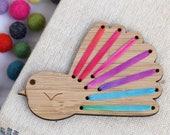 Make Your Own Embroidered Brooch - DIY Silk Ribbon Fantail - NZ Bird - Kiwiana Embroidery - Rainbow Colourway - Bright Piwakawaka -Stitch it