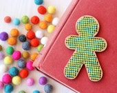 Stitch Your Own Person Brooch - Lime Green Embroidery Kit - DIY Cross Stitch Human Kit