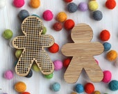 Blank MiniPeep Cross Stitch Pendant & Backing - DIY Person Embroidery Blank - Bamboo Learn to Stitch Dude