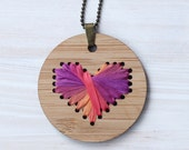 Ribbon Heart Cross Stitch / Hand Dyed Silk Ribbon / DIY Necklace Kit / Bamboo Embroidery DIY