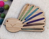 Make Your Own Embroidered Magnet - DIY Silk Ribbon Fantail - NZ Bird - Kiwiana Embroidery - Mountain Colourway -  Piwakawaka -Stitch it